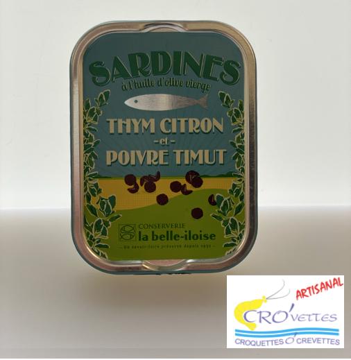 547. Sardines - Sardines au poivre de timut (thym citron, poivre de timut) 115gr