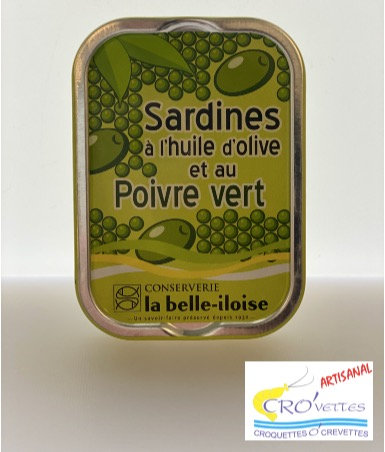 540. Sardines - Sardines à l'huile d'olive et poivres verts 115gr