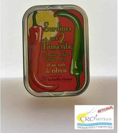 542. Sardines - Sardines à l'huile d'olive vierge extra, piments et citron 115gr