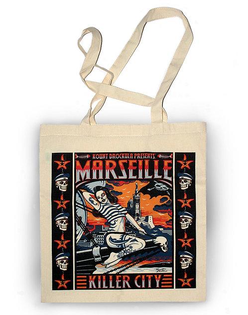Sac aperçu recto / Kount Drockula / Marseille Kille City Girl / Pin-up Zombie Tattoo Voilier Psychobilly Rock'n'Roll