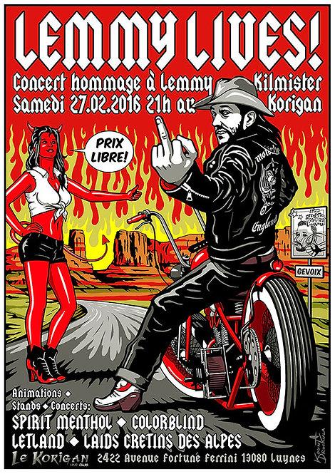 Aperçu graphisme / Kount Drockula / Lemmy Lives / Motörhead Devil Girl Pinup Biker Flames Hard Rock