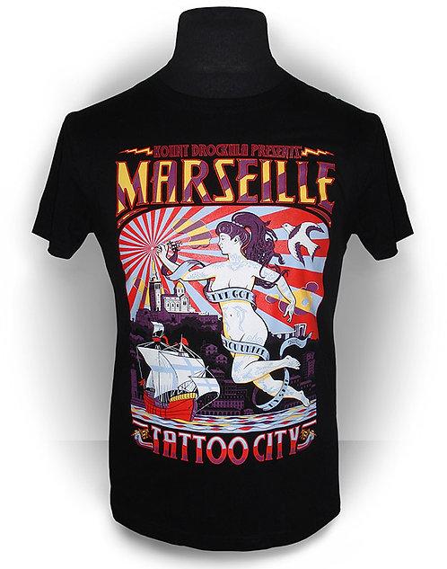 T-shirt aperçu recto / Kount Drockula /Marseille Tattoo City / Pinup Ange Main Dermographe Soleil Mer Psychobilly Rock'n'Roll