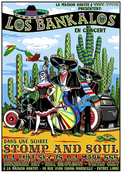 Aperçu graphisme / Kount Drockula / Los Bankalos / La Maison Hantée / Garage Hot Rod Zombies Mexico Cactus Rock'n'Roll