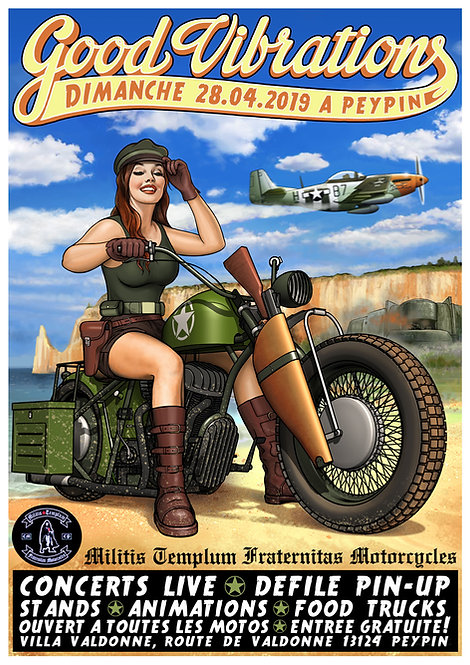 Aperçu graphisme / Kount Drockula / Good Vibrations 2019 / Peypin / Pinup Biker D-day Custom P51 Mustang Rock'n'Roll