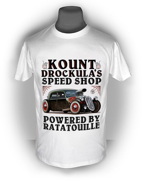 T-shirt aperçu recto / Kount Drockula / Speed Shop / Citroën Traction / Hotrod Ratrod Topchop Voiture Française V8 Blower