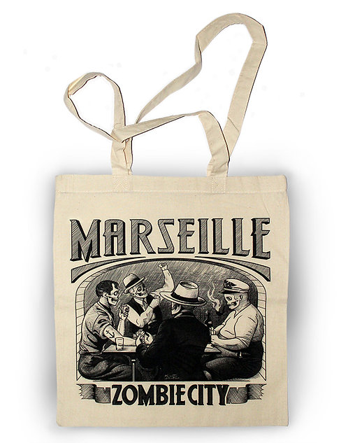 Sac aperçu recto / Kount Drockula / Partie de Cartes / Marseille Marius Pagnol Pastis Zombie Vintage
