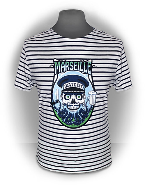 T-shirt aperçu recto/ Marseille Pirate City / Marinière Zombie Pieuvre Rasoir Barbe Pinte Tattoo Psychobilly Rock'n'Roll