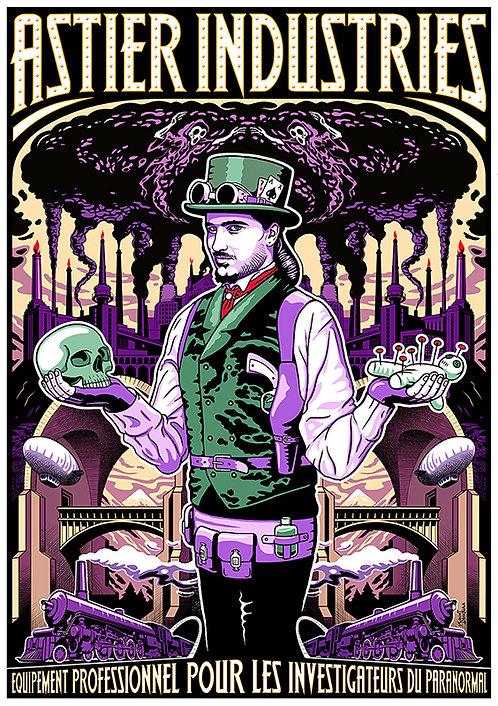 Aperçu graphisme / Kount Drockula / Astier Industries / Magician Skull Voodoo Doll Steampunk Train Ghost Revolver Zeppelin