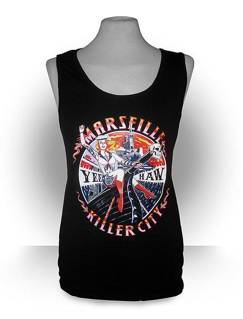 Debardeur aperçu recto / Kount Drockula / Marseille Killer City Girl / Pin-up Tattoo Voilier Rock'n'Roll