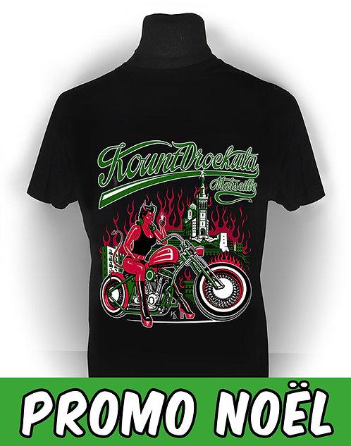 T-shirt aperçu recto / Kount Drockula / Biker Demon / Marseille Rock'n'Roll Devil Girl Pinup Flames