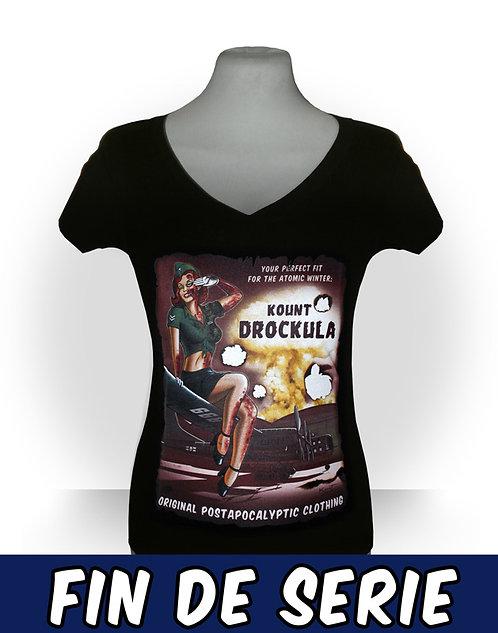Tshirt femme aperçu recto / Kount Drockula / Atomic Girl / Psychobilly Rock'n'Roll Zombie Pinup Bomber Nuclear Mushroom Cloud