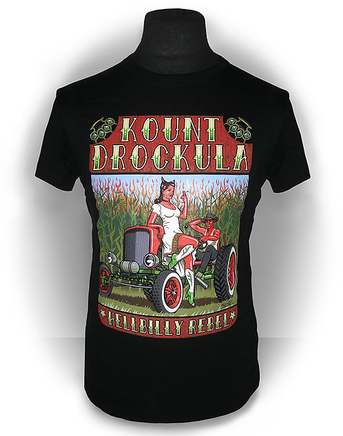 T-shirt aperçu recto / Kount Drockula / Helbilly Rebel / Tracteur Hotrod Champ Devil Girl Pinup Flames