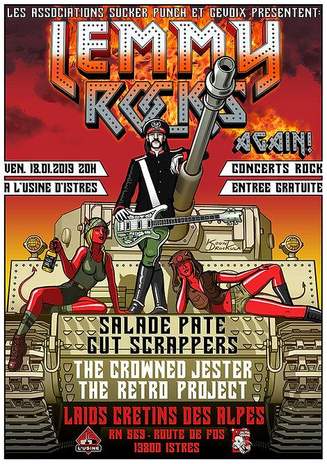 Aperçu graphisme / Kount Drockula / Lemmy Rocks Again! / l'Usine istres / Motörhead Devil Girl Pinup Tank Flames Hard Rock