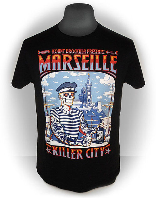 T-shirt aperçu recto / Marseille Killer City / Marin Zombie Tattoo Voilier Pastis Psychobilly Rock'n'Roll