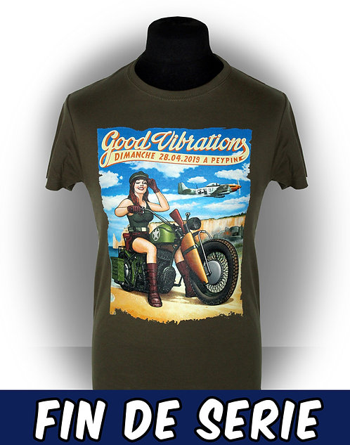 T-shirt homme aperçu recto/ Kount Drockula / Good Vibrations 2019 / Peypin / Pinup Biker D-day Custom P51 Mustang Rock'n'Roll