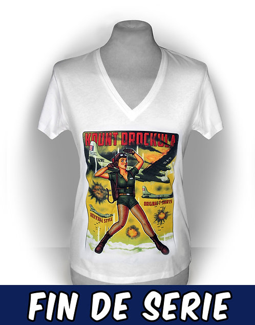 T-shirt femme aperçu recto / Kount Drockula / Bomber Girl / Pinup B52 Flying Fortress Parachute Air Force Vintage Rock'n'Roll