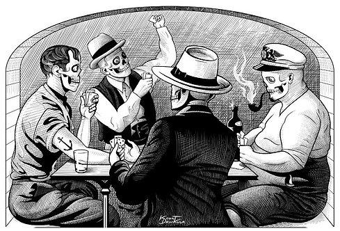 aperçu graphisme / Kount Drockula / Partie de Cartes / Marseille Marius Pagnol Pastis Zombie Vintage