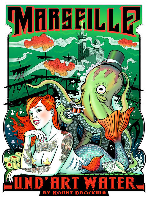 Aperçu graphisme/ Und'ArtWater / Siréne Tattoo Poulpe Marseille Pin-up Psychobilly Rock'n'Roll