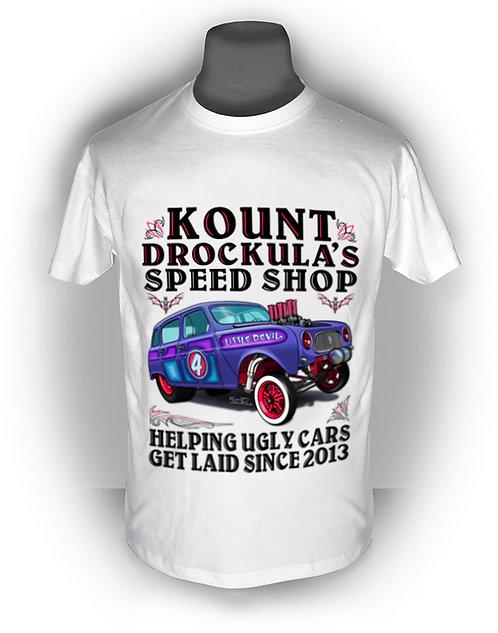 T-shirt aperçu recto / Kount Drockula / Speed Shop / Renault 4 / Hotrod Gasser Whitewalls Metalflake Voiture Française V8