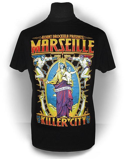 T-shirt aperçu recto / Kount Drockula / Marseille Killer City Notre Dame / Vierge Enfant Ange Demon Masque Catcheur 9mm