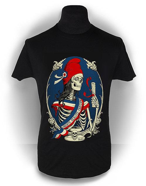 T-shirt homme aperçu recto/ Marianne / Zombie Skull Revolution Liberté Egalité Fraternité Psychobilly Rock'n'Roll