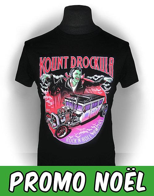T-shirt aperçu recto / Kount Drockula / Rock'n'Roll Vampire / Herse Hotrod Bat Psychobilly Horror