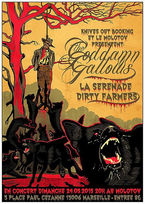 Aperçu graphisme / Kount Drockula / Goddamn Gallows / Le Molotov / Psychobilly Country Punk Western Wolves Hanged Man