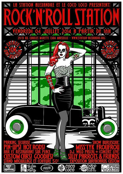 Aperçu graphisme / Kount Drockula / Rock'nRoll Station / Pinup Hot Rod Custom Burlesque