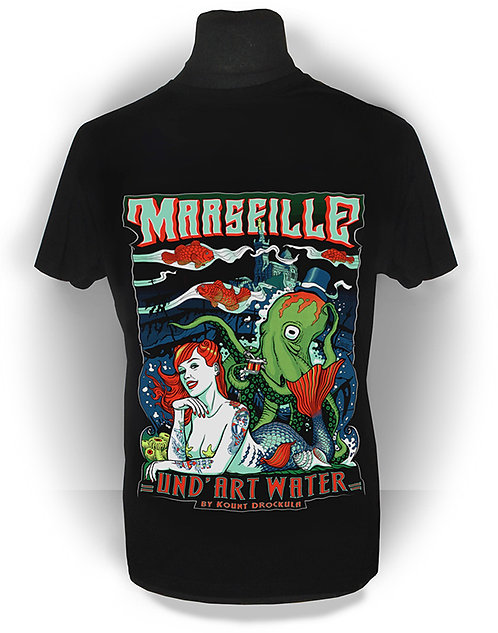 T-shirt homme aperçu recto/ Und'ArtWater / Siréne Tattoo Poulpe Marseille Pin-up Psychobilly Rock'n'Roll