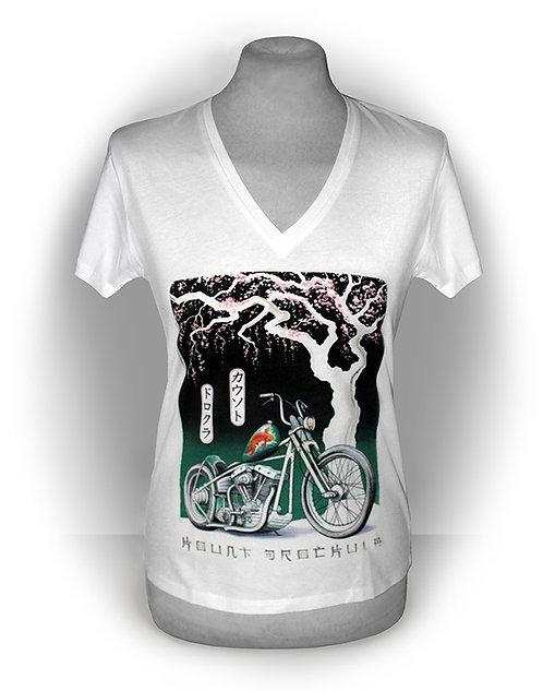 T-shirt femme aperçu recto / Kount Drockula / Japan Style / Custom Motorcycle Old School Bobber Cherry Tree Bloom Watercolour