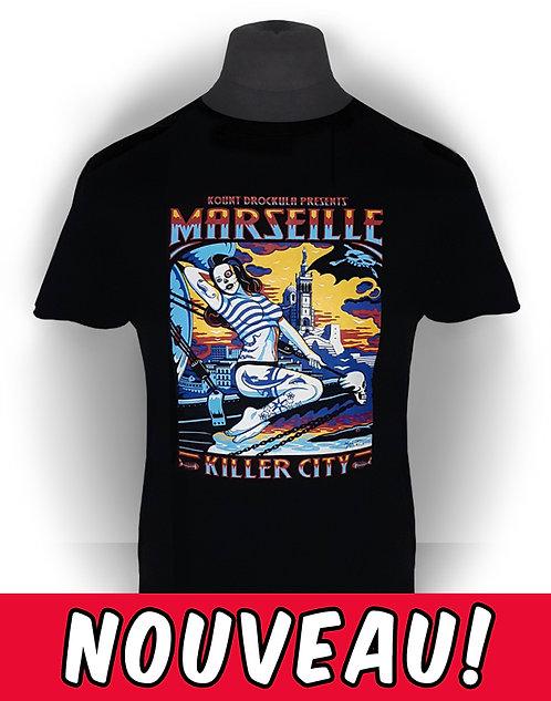T-shirt aperçu recto / Kount Drockula / Marseille Kille City Girl / Pin-up Zombie Tattoo Voilier Psychobilly Rock'n'Roll