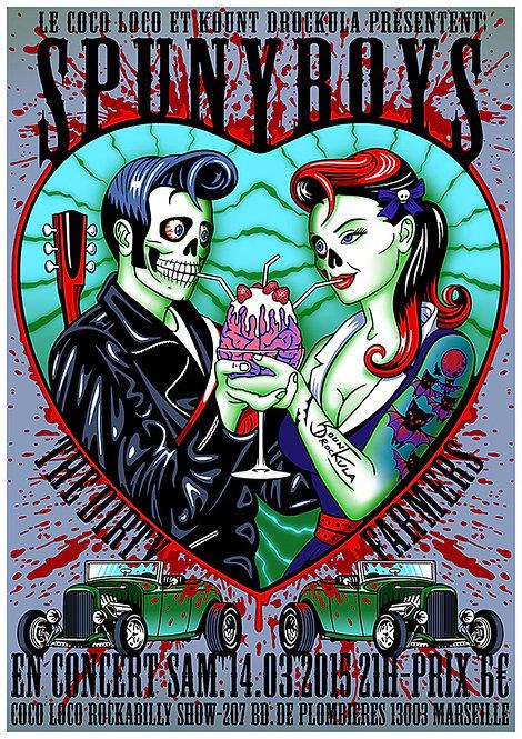 Aperçu graphisme / Kount Drockula / Spunyboys / Coco Loco / Zombie Pinup Tattoo Hot Rod Blood Brains Rockabilly
