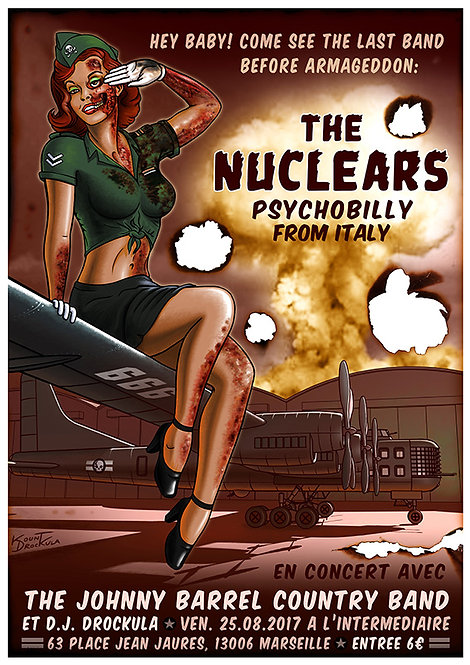 Aperçu graphisme / Kount Drockula / The Nuclears / L'Intermediaire / Psychobilly Zombie Pinup Girl Bomber Mushroom Cloud Burn