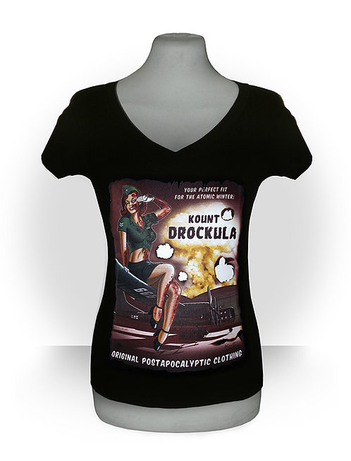 Tshirt femme aperçu recto / Kount Drockula / Atomic Girl / Psychobilly Rock'n'Roll Zombie Pinup Bomber Nuclear Mushroom Cloud