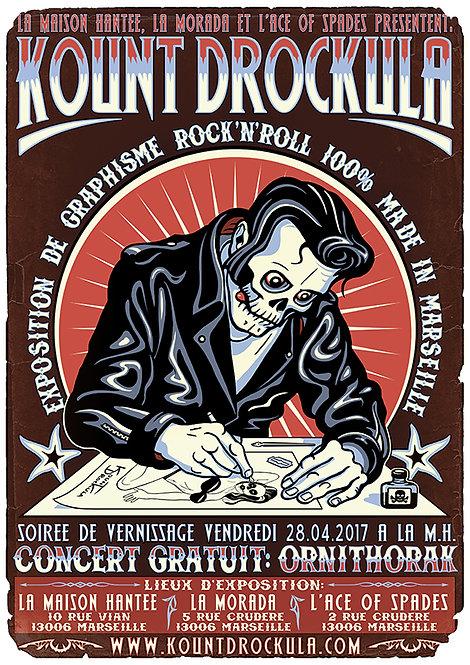 Aperçu graphisme / Kount Drockula / La Maison Hantée / Zombie Pinup Artist Exhibition Rock'n'Roll
