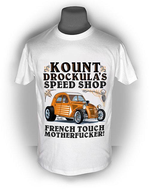 T-shirt aperçu recto / Kount Drockula / Speed Shop / Citroën 2CV / Hotrod Topchop Voiture Française V8