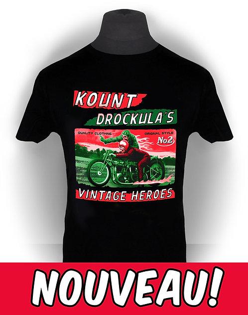 T-shirt aperçu recto / Kount Drockula / Vintage Heroes / Motorcycle / Custom / Skull Zombie / Boardtrack Racer / Speed Record