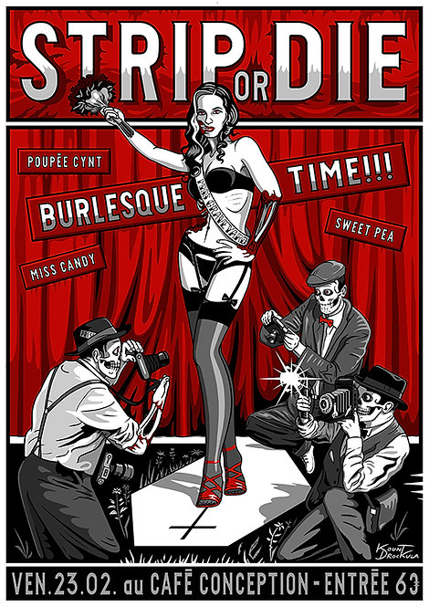 Aperçu graphisme / Kount Drockula / Burlesque Time / Café Conception / Psychobilly Zombie Pinup Fashion Show Photographe