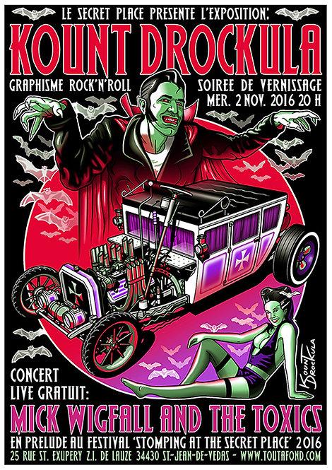 Aperçu graphisme / Kount Drockula / Mick Wigfall & the Toxics / Secret Place / Zombie Pinup Vampire Hot Rod Blood Rock'n'Roll