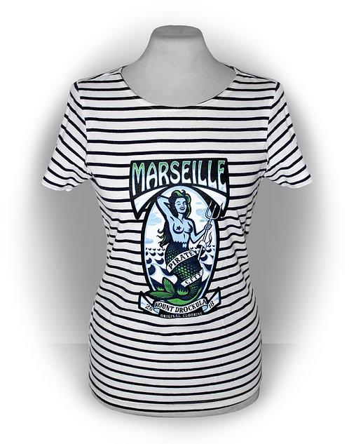 T-shirt aperçu recto / Kount Drockula / Marseille Pirate City Girl / Pin-up Sirène Tattoo Marinière Psychobilly Rock'n'Roll