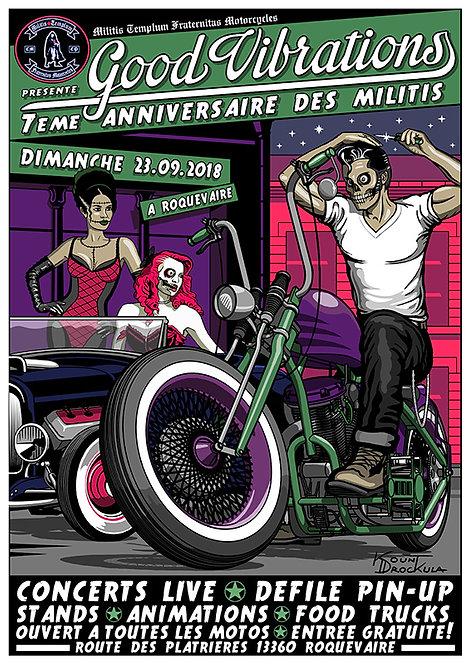 Aperçu graphisme / Kount Drockula / Good Vibrations 2018 / Roquevaire / Zombie Biker Switchblade Pinup Hot Rod Rock'n'Roll