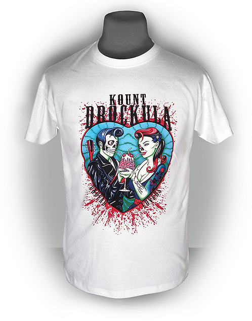 T-shirt homme aperçu recto / Kount Drockula / Undead Lovers / Psychobilly Rock'n'Roll Zombies Blood Tattoo