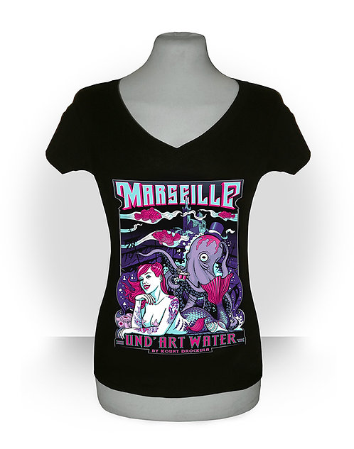 T-shirt femme aperçu recto/ Und'ArtWater / Siréne Tattoo Poulpe Marseille Pin-up Psychobilly Rock'n'Roll