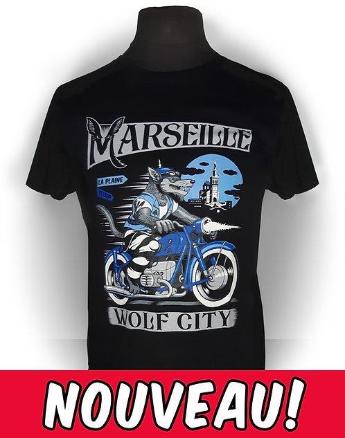 T-shirt homme aperçu recto / Wolf City / loup garou prisonnier BMW motorcycle vintage oldschool metal  Rock'n'Roll