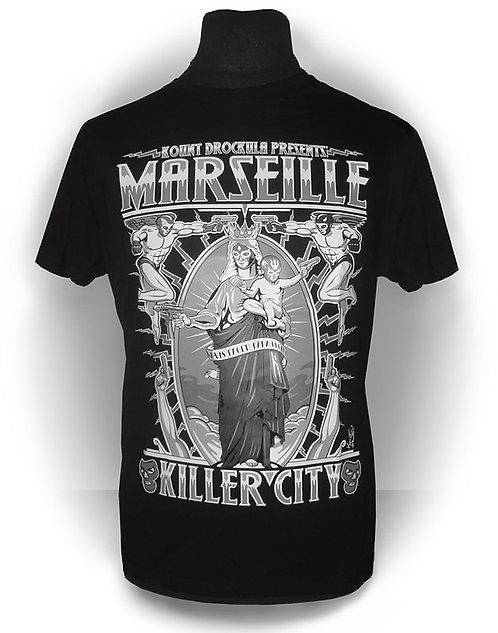 T-shirt aperçu recto / Kount Drockula / Marseille Killer City Notre Dame gris / Vierge Enfant Ange Demon Masque Catcheur 9mm