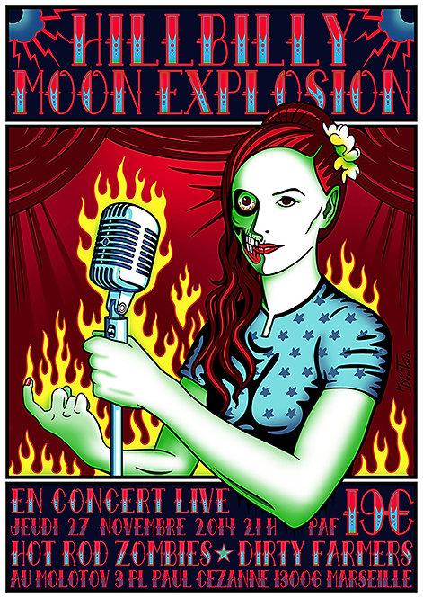 Aperçu graphisme / Kount Drockula / Hilbilly Monn Explosion / Le Molotov / Psychobilly Zombie Pinup Microphone Flames
