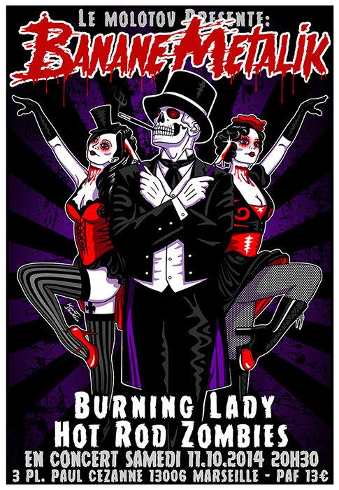 Aperçu graphisme / Kount Drockula / Banane Metalik / Le Molotov / Psychobilly Punk Horror Slasher Ripper Burlesque Dancer