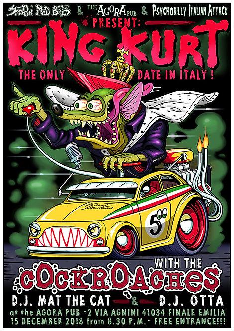 Aperçu graphisme / Kount Drockula / King Kurt / Hot Rod Weirdo Italy Fiat 500 Psychobilly