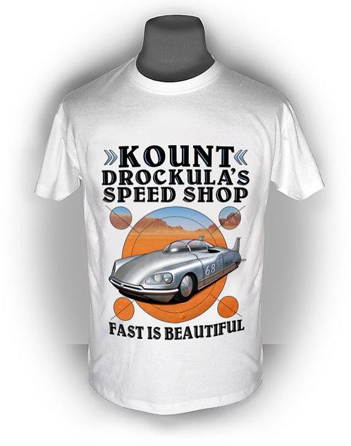 T-shirt aperçu recto / Kount Drockula / Speed Shop / Citroën DS / Bare Metal Lakester Voiture Française Record Vitesse Desert