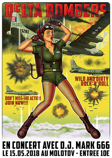 Aperçu graphisme / Kount Drockula / Delta Bombers / Le Molotov / B52 Flying Fortress Parachute Air Force Pinup Rock'n'Roll